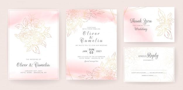 ゴールドのラインアート花の結婚式の招待カードテンプレートは桃の水彩画で設定。抽象的な背景は、日付、招待状、グリーティングカード、多目的を保存します