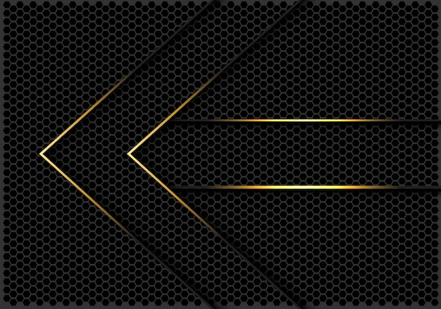 Gold lines arrow direction dark hexagon mesh background.