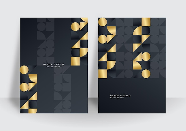 Gold lines on black background for cover design template