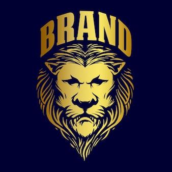 ブランドビジネスイラストのゴールドライオンキングロゴ