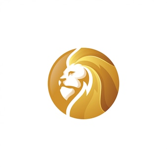 Gold lion leo head logo icon