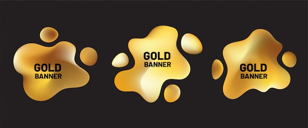 Gold liquid shapes set. abstract fluid shape with golden gradient for social media, advertising