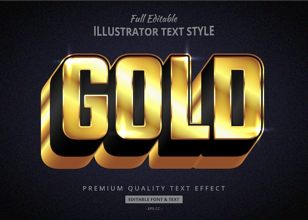 Gold long shadow text graphic style effect