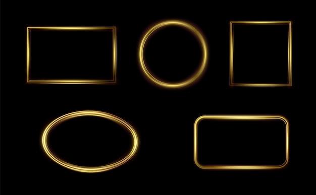 ゴールドの発光フレームテキスト用のお祝いテンプレートお祝いテキスト用のゴールドボーダーライトフレームを設定png