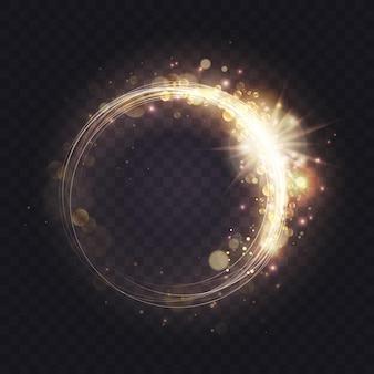 きらめくキラキラと輝く渦巻き線のゴールドの発光スパークリングライトフレーム