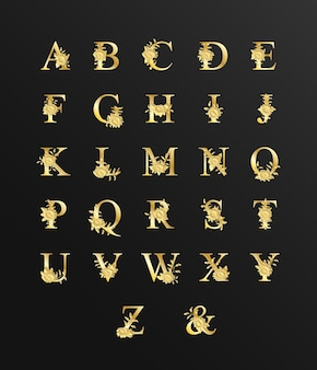 꽃과 결혼식을위한 골드 럭셔리 아름다운 알파벳