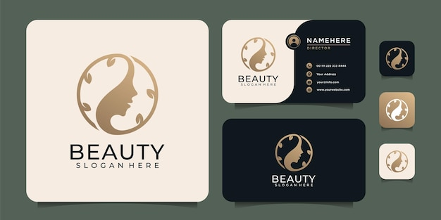 Gold luxury beauty woman face hair logo design elements symbol for spa and decoration