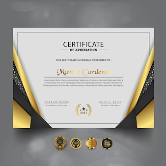 Gold luxury certificate of achievement template