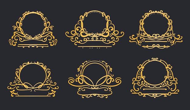 Золотая роскошная круглая рамка с логотипом вихревой коллекции