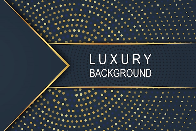 Gold luxury dark blue background on circle halftone pattern