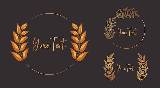 ゴールドの豪華な花の月桂樹の花輪の美しさとエレガントなスタイルのフレームの装飾