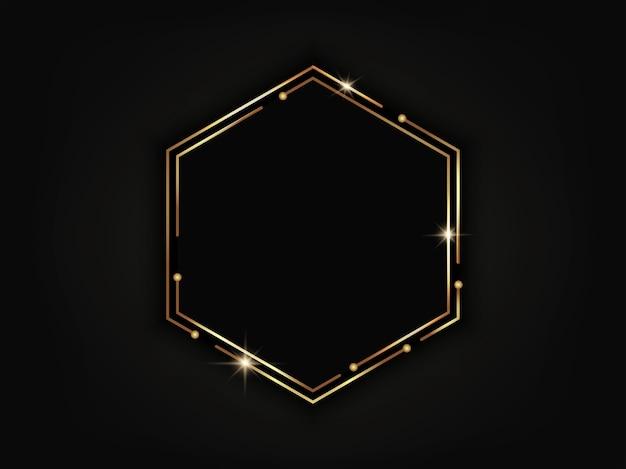 Gold luxury hexagonal frame. geometric background