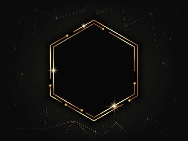 Gold luxury hexagonal frame. geometric