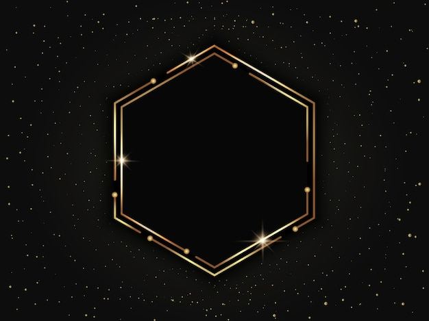 Gold luxury hexagonal frame with particles. geometric