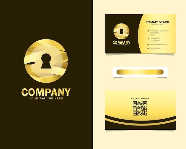 文房具名刺テンプレートとゴールドの高級セキュリティロックロゴデザイン