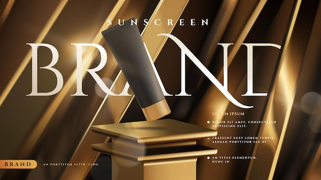 Золотой роскошный солнцезащитный крем или шаблон макета рекламы косметического продукта