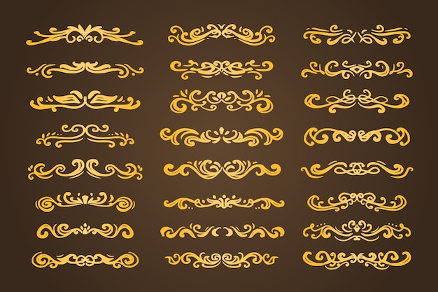 Gold luxury swirl divider ornament divider set collection vector