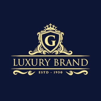 Gold luxury vintage monogram floral decorative logo with crown design  template