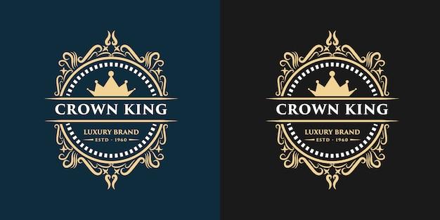 クラウンデザインテンプレートとゴールドの高級ビンテージモノグラム花装飾ロゴ