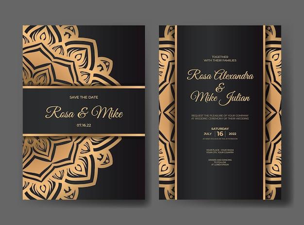 曼荼羅の装飾飾りとゴールドの豪華な結婚式の招待状のテンプレート