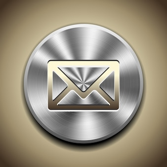 Gold mail icon on button with circular metal processing.
