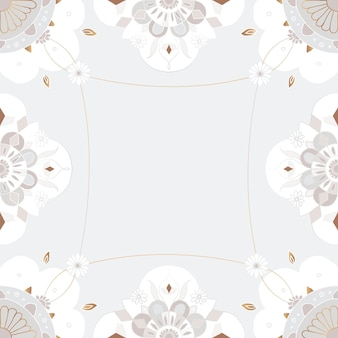Gold mandala pattern  frame gray floral indian style
