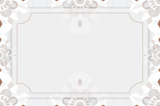 Gold mandala pattern vector frame gray botanical indian style