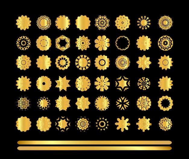 Gold mandala set on black background