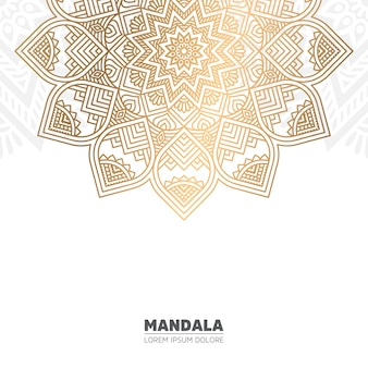 Gold mandala and white background