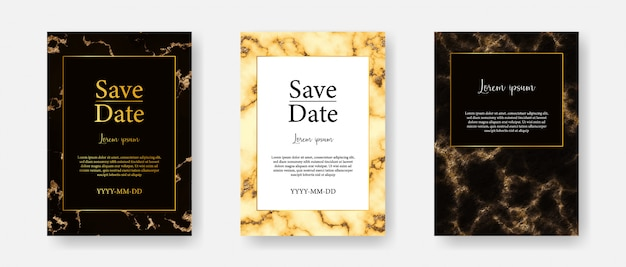 Gold marble a4 card vector template