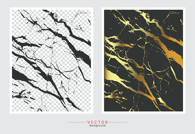 Gold marble cover black background