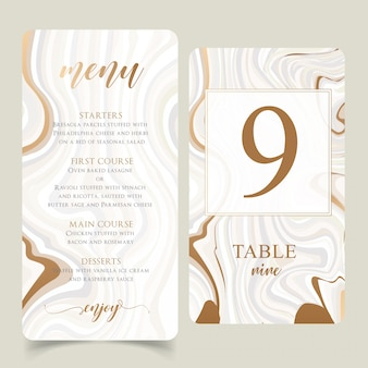 Gold and marble wedding menu template with editable table numbers
