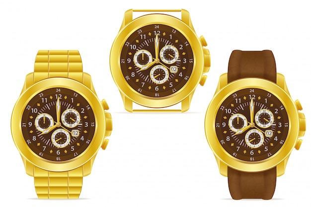 Gold mechanical wristwatch vector illustration