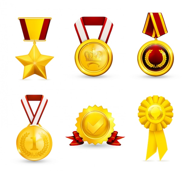 Gold medal, awards and achievement,  icons set