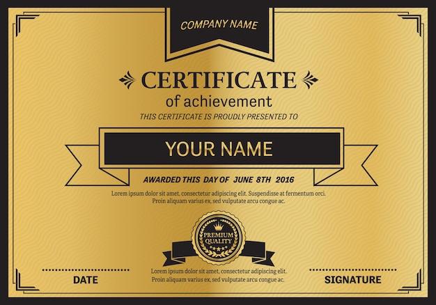 Шаблон сертификата золотой медали. Premium векторы
