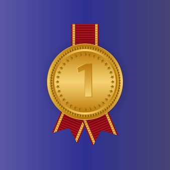 Gold medal first place badge. sport game golden challenge award. red ribbon. isolated.