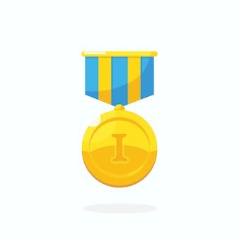 Gold medal for first place. trophy, award, prize for winner isolated on white background. golden badge with ribbon. achievement, victory, success. vector cartoon illustration flat design