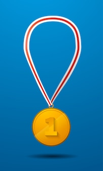 Gold medal for first place with tape vector icon