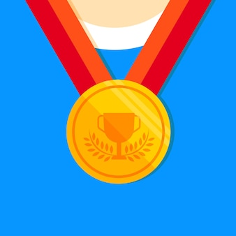 Gold medal flat icon