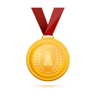 1 등 금메달. 황금 1 위 배지. 숫자 1과 올리브 가지를 이미지 한 금메달. 삽화