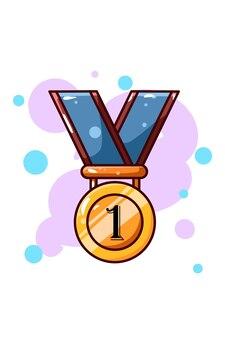 첫 번째 우승자 만화 일러스트 레이션을위한 금메달