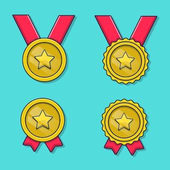 金メダルアイコンイラストフラット漫画スタイル Premiumベクター