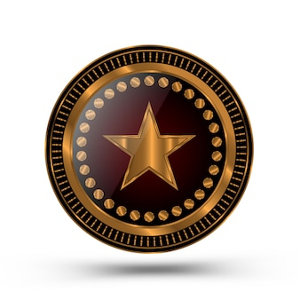 Золотая медаль в стиле значка шерифа