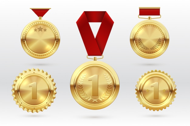 Gold medal. number 1 golden medals with red award ribbons. first placement winner trophy prize. vector set