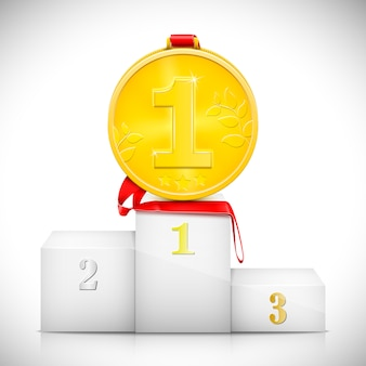 Gold medal on pedestal of winners.