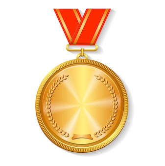 Gold medal on red ribbon
