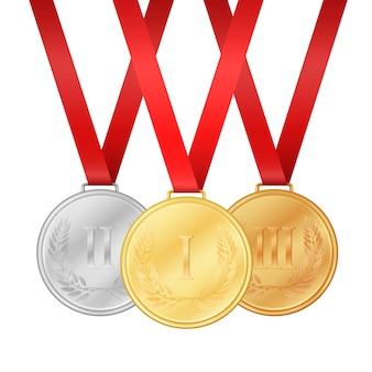 金メダル。銀メダル。銅メダル。白い背景の図に分離されたメダルセット