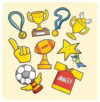간단한 낙서 스타일의 금메달, 트로피 및 우승자 기호