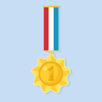 Gold medal with colorful ribbon for first place. trophy, winner award isolated on background. golden badge icon. sport, business achievement, victory concept. illustration. flat style design