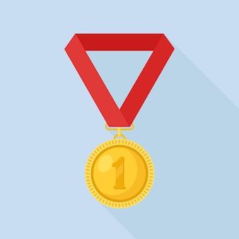 첫 번째 장소 그림을위한 빨간 리본이 달린 금메달
